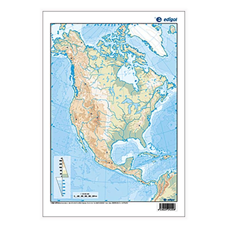 America Del Norte Mapa Fisico Mudo.America Del Norte Mudo Fisico 22 5 X 32 Cm