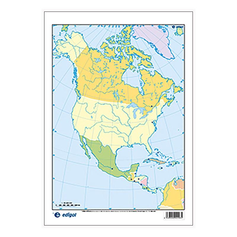 Mudos de ejercicios - América del Norte (bolsa 5 mapas físicos y 5 políticos)