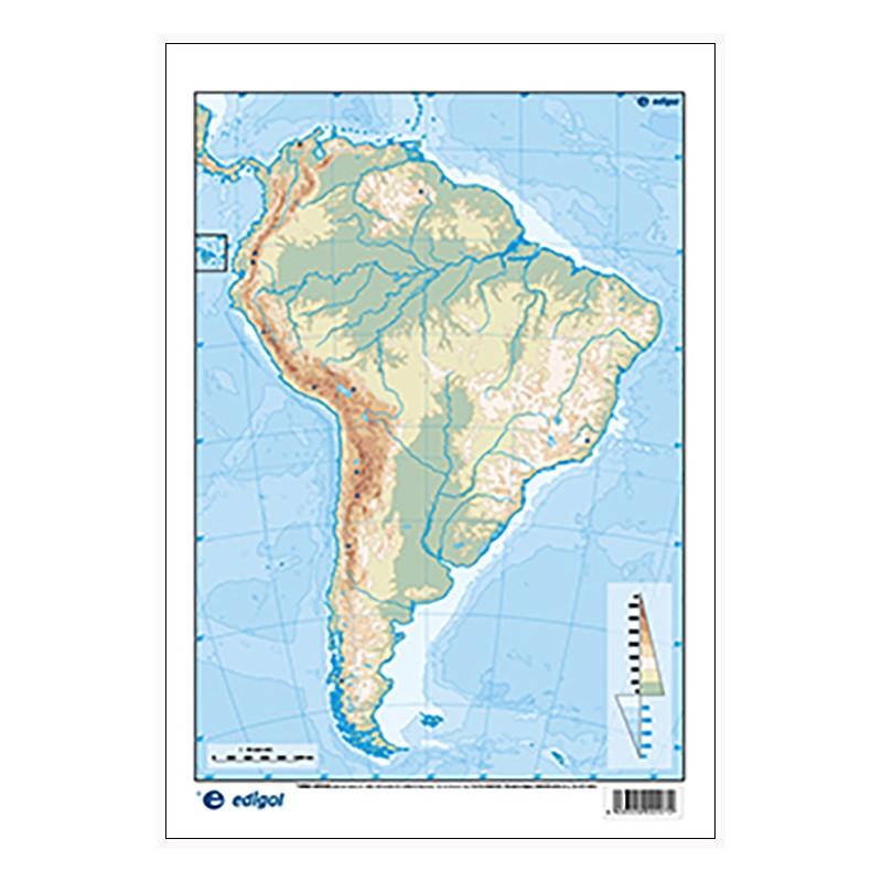 Mapa Fisico De America Mudo.America Del Sur Mudo Fisico 22 5 X 32 Cm