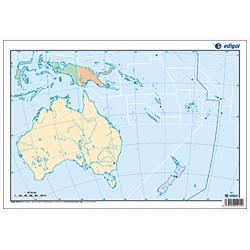 Mudos de ejercicios - Oceanía (bolsa 5 mapas físicos y 5 políticos)