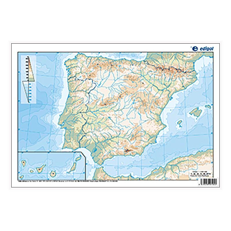 Mapa Fisic Espanya Mut.Espanya Mut Fisic 22 5 X 32 Cm