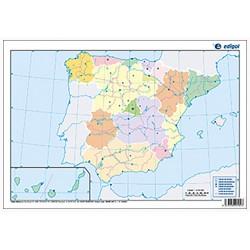 Mudos de ejercicios - España (bolsa 5 mapas físicos y 5 políticos)