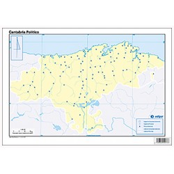 Mudos de ejercicios - Cantabria (bolsa 5 mapas físicos y 5 políticos)
