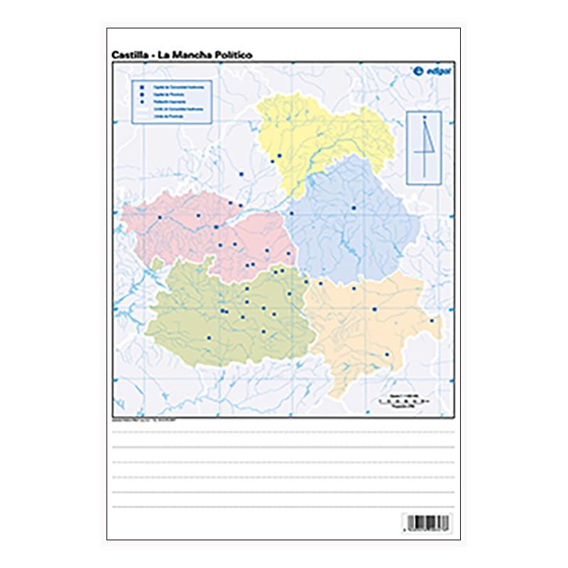 Mudos de ejercicios - Castilla-La Mancha (bolsa 5 mapas físicos y 5 políticos)