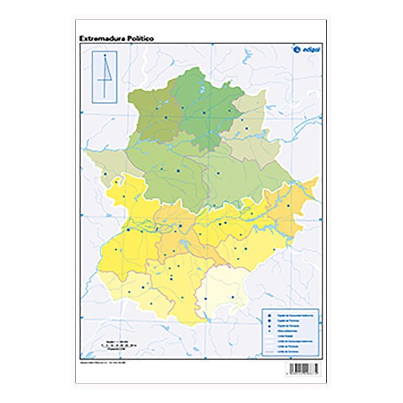 Mudos de ejercicios - Extremadura (bolsa 5 mapas físicos y 5 políticos)