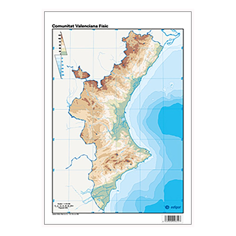 Mapa Fisico Comunitat Valenciana.Comunitat Valenciana Mudo Fisico 22 5 X 32 Cm