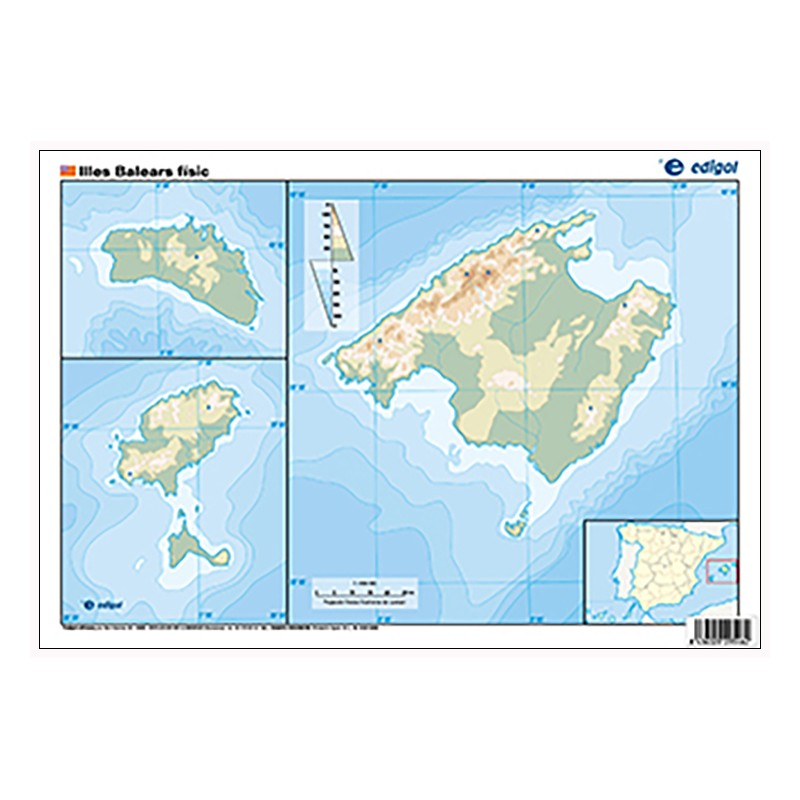 Islas Baleares Mapa Fisico.Islas Baleares Mudo Fisico 22 5 X 32 Cm