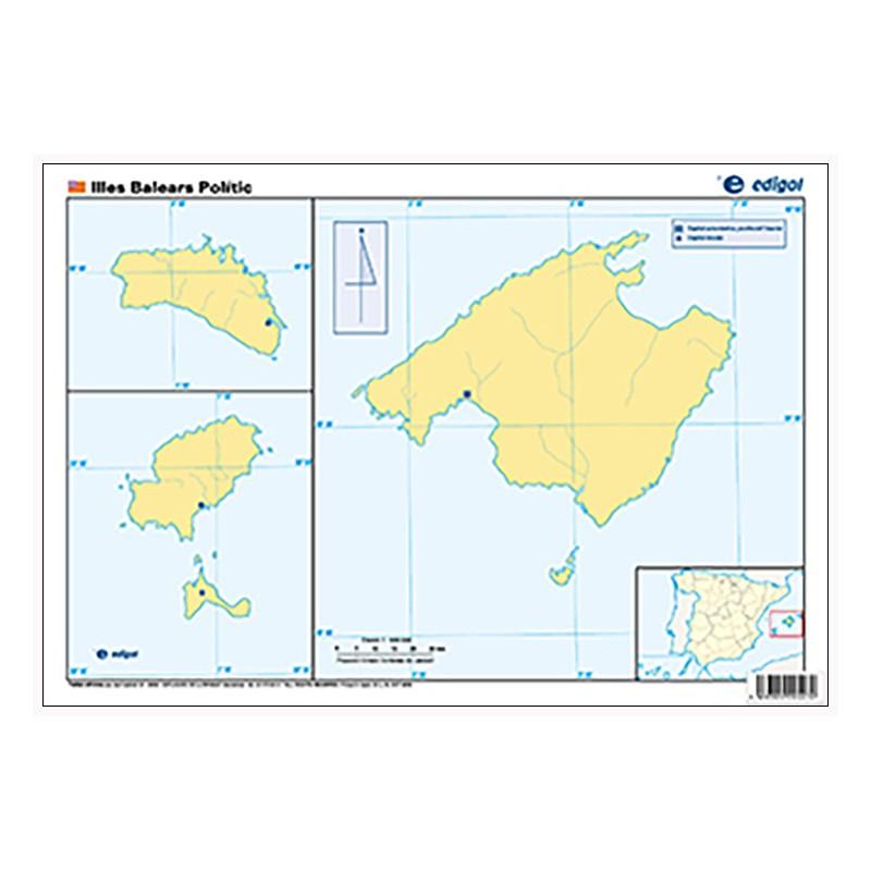 Mudos de ejercicios - Illes Balears (bolsa 5 mapas físicos y 5 políticos)