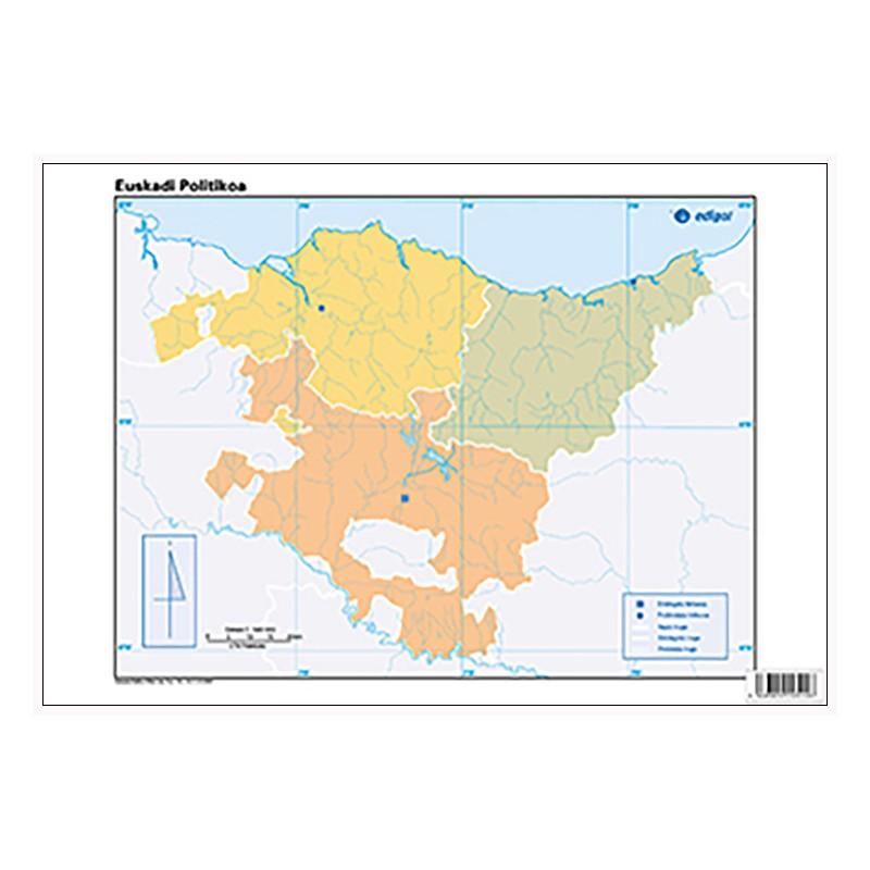 Mudos de ejercicios - Euskadi (bolsa 5 mapas físicos y 5 políticos)