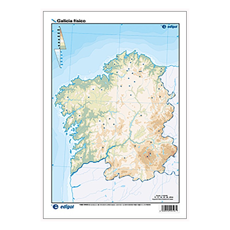 Mapa De Galicia Fisico Mudo.Galicia Mudo Fisico 22 5 X 32 Cm