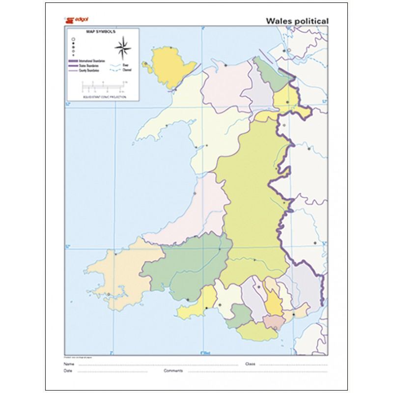 Mudos de ejercicios - Wales (bolsa 10 mapas físico- políticos)