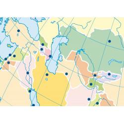 Mudos de ejercicios - Asia (bolsa 5 mapas físicos y 5 políticos)