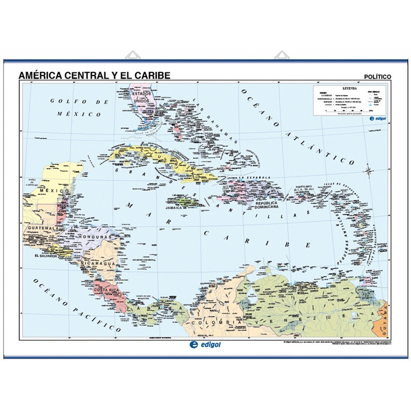 Mapa mural de América Central y el Caribe - Físico / Político