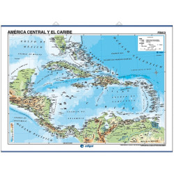 Wall map of Central America and the Caribbean, Physical / Political