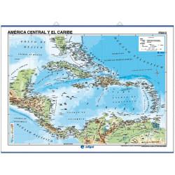 Carte murale de l'Amérique centrale et des Caraïbes - Physique / Politique