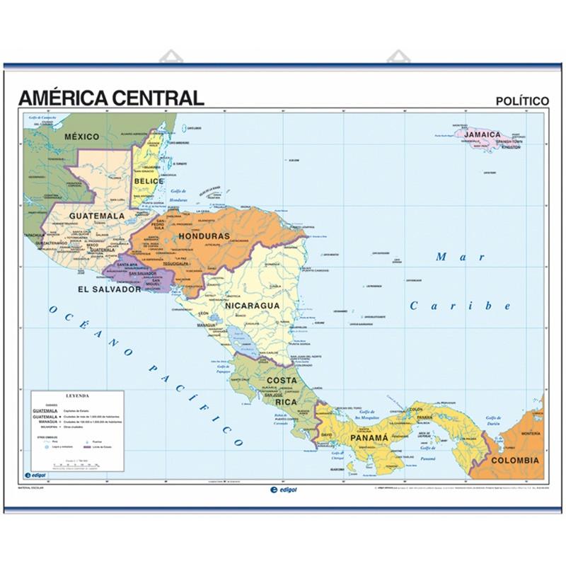 Carte murale de l'Amérique centrale - Physique / Politique