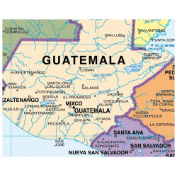 Mapa mural de América Central - Físico / Político