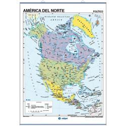 Carte murale de l'Amérique du Nord - Physique / Politique