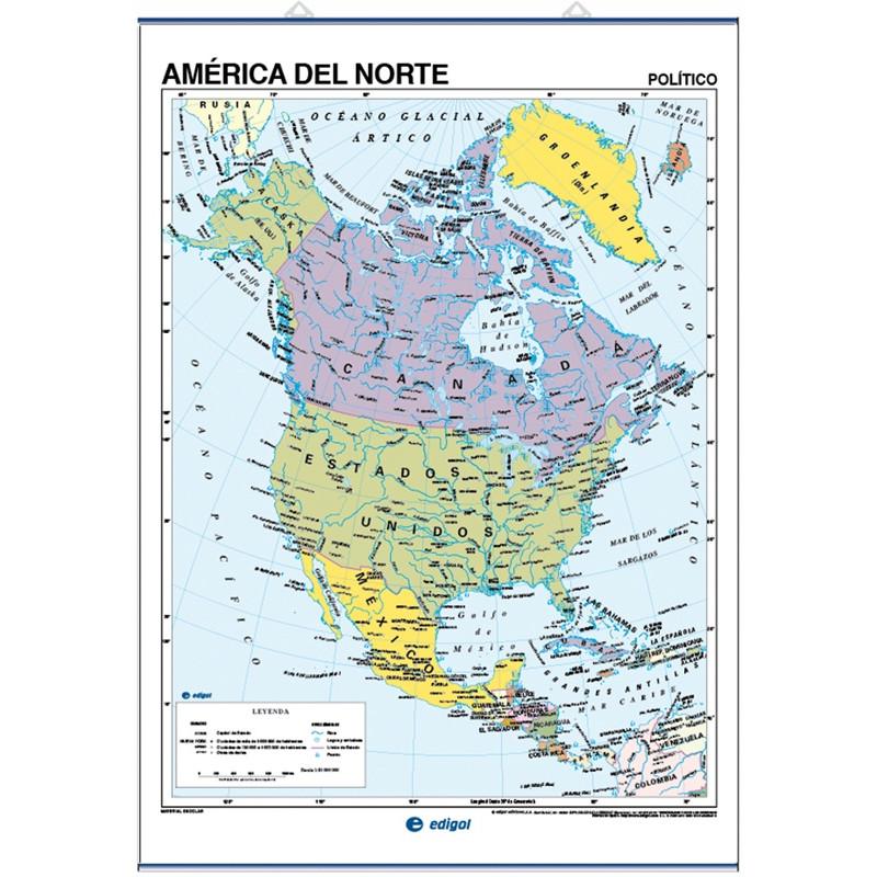 Mapa mural d'Amèrica del Nord - Físic / Polític
