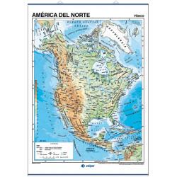 Mapa mural de América del Norte - Físico / Político