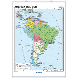 South America Wall Map - Physical / Political