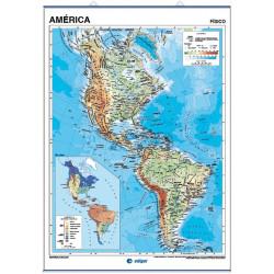 Carte murale de l'Amérique - Physique / Politique