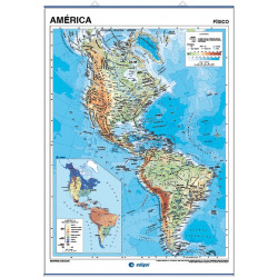 America Wall Map - Physical / Political