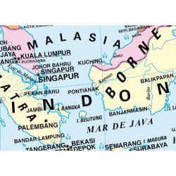 Mapa mural d'Àsia - Físic / Polític