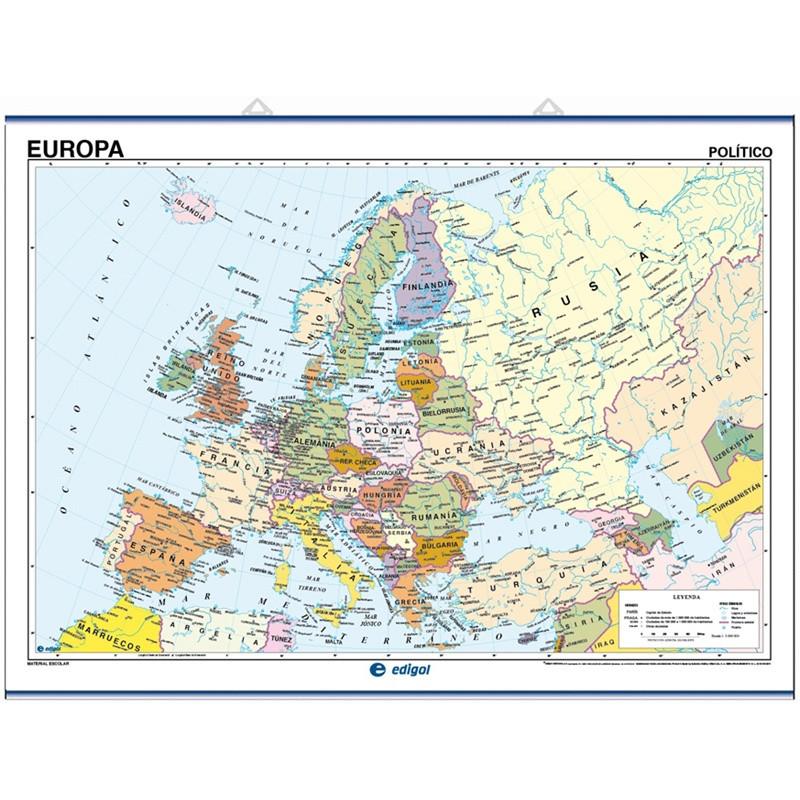 Mapa mural de Europa, Físico / Político