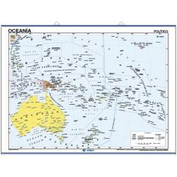 Mapa mural d'Oceania - Físic / Polític