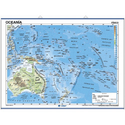 Wall map of Oceania, Physical / Political
