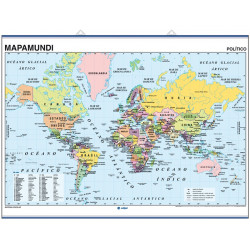 Wall map World Map Mercator Eurocentric, Physical / Political