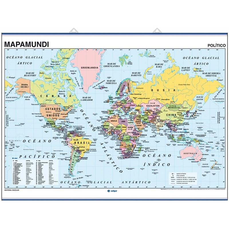 Carte murale du Monde Mercator Eurocentrique - Physique / Politique