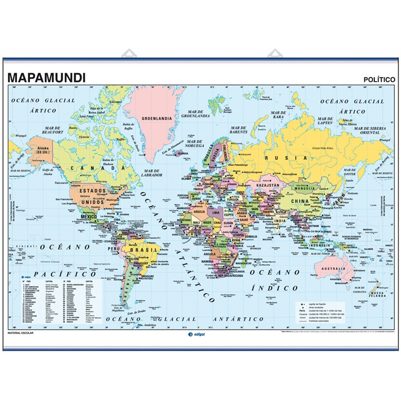 World Wall Map Mercator Eurocentric - Physical / Political
