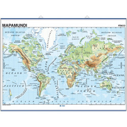 Wall map World Map Mercator Eurocentric, Physical / Political