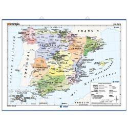 Carte murale d'Espagne, Physique / Politique