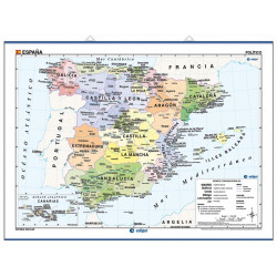 Wall map of Spain - Physical / Political