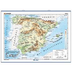 Carte murale de l'Espagne - Physique / Politique