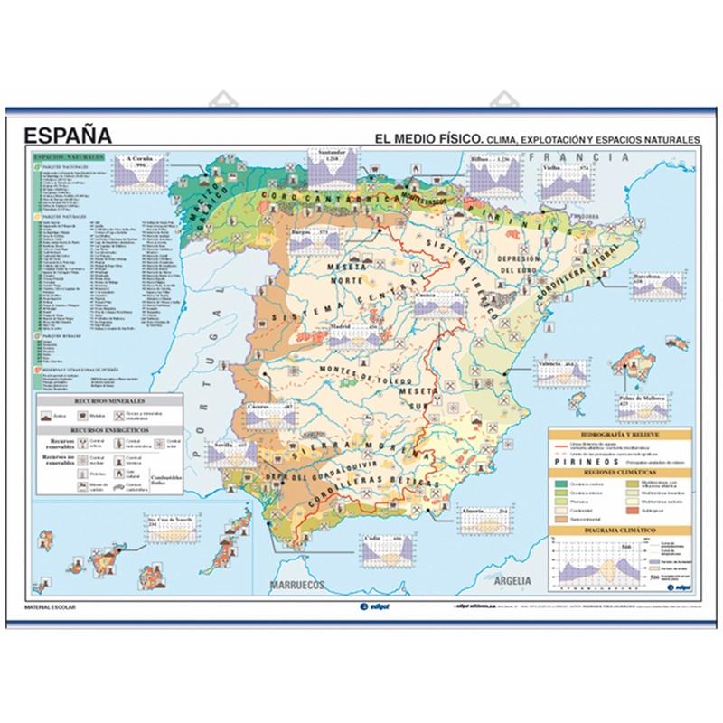 Mapa mural de España, Climatología / Economía - Población