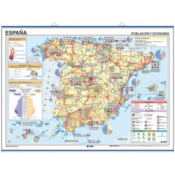 Spain Wall Map, Climatology / Economy - Population