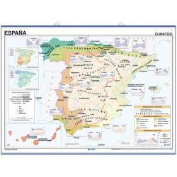Carte murale de l'Espagne, Géologique / Climat