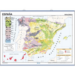 Spain Wall Map, Geological / Climate