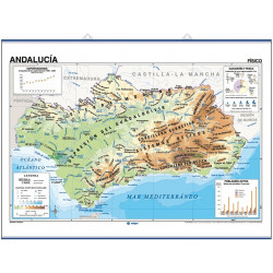 Wall map of Andalusia, Physical / Political