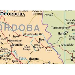 Carte murale de l'Andalousie - Physique / Politique