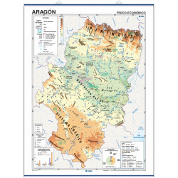 Wall map of Aragon, Physical-Economic / Political-Population
