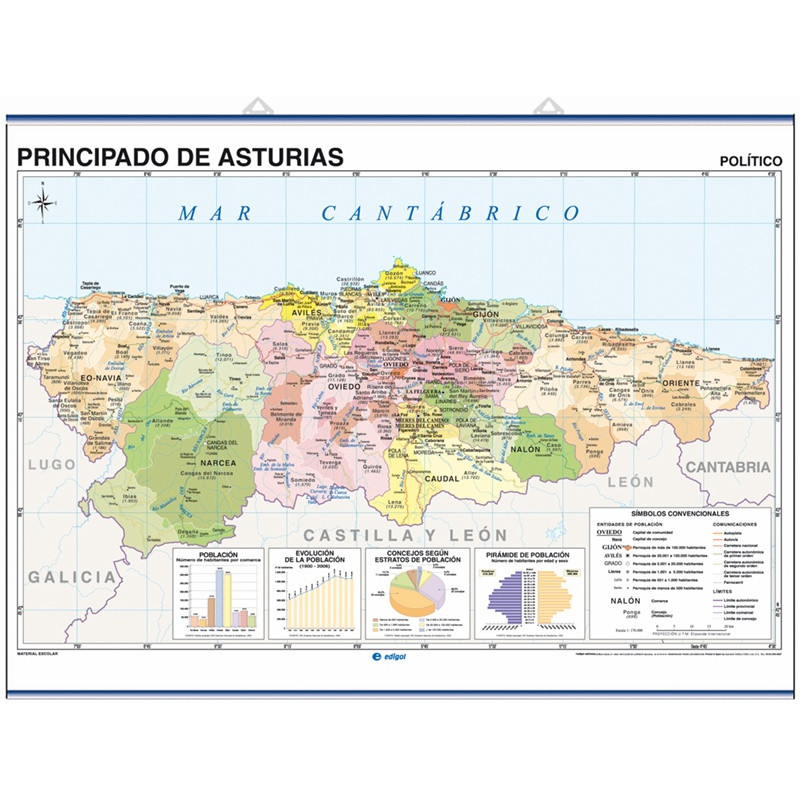 Mural map of the Principality of Asturias, Physical / Political
