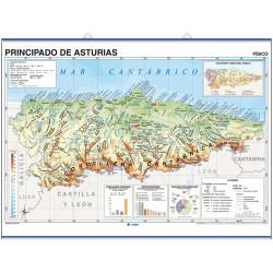 Carte murale de la Principauté des Asturies - Physique / Politique