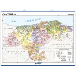 Cantabria Wall Map - Physical / Political
