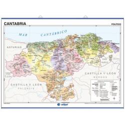 Carte murale de la Cantabrie - Physique / Politique