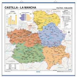 Carte murale de Castille-La Manche, Physique-Politique / Économique